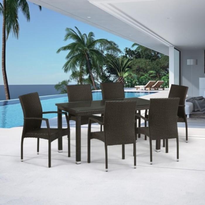Комплект мебели из искусственного ротанга T256A/Y379A-W53 Brown (6+1)