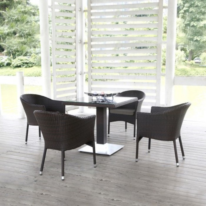 Комплект мебели из искусственного ротанга T606SWT/Y350B-W53 Brown (4+1)