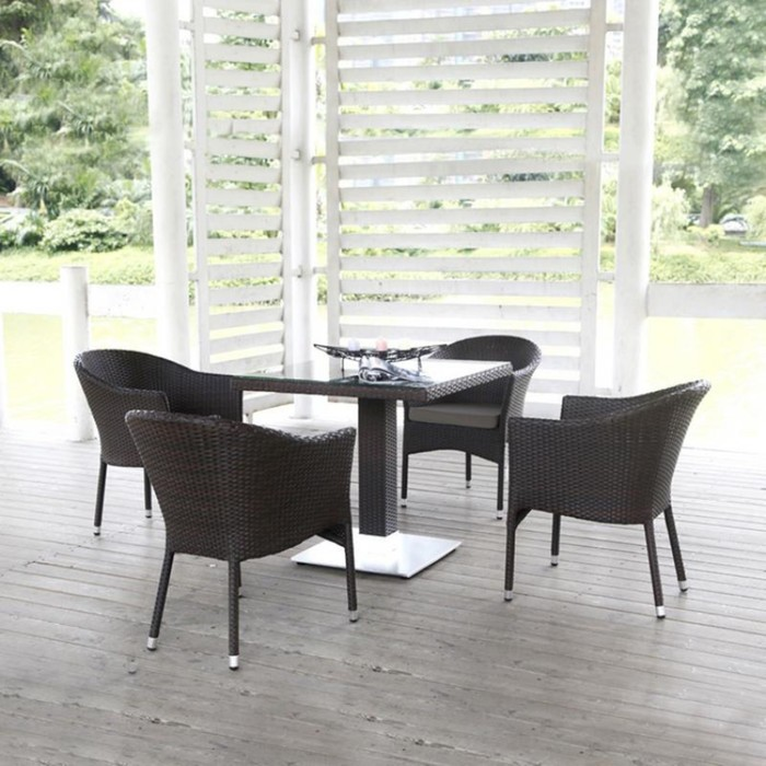 Комплект плетеной мебели T606SWT/Y350W-W2390 Brown 4Pcs