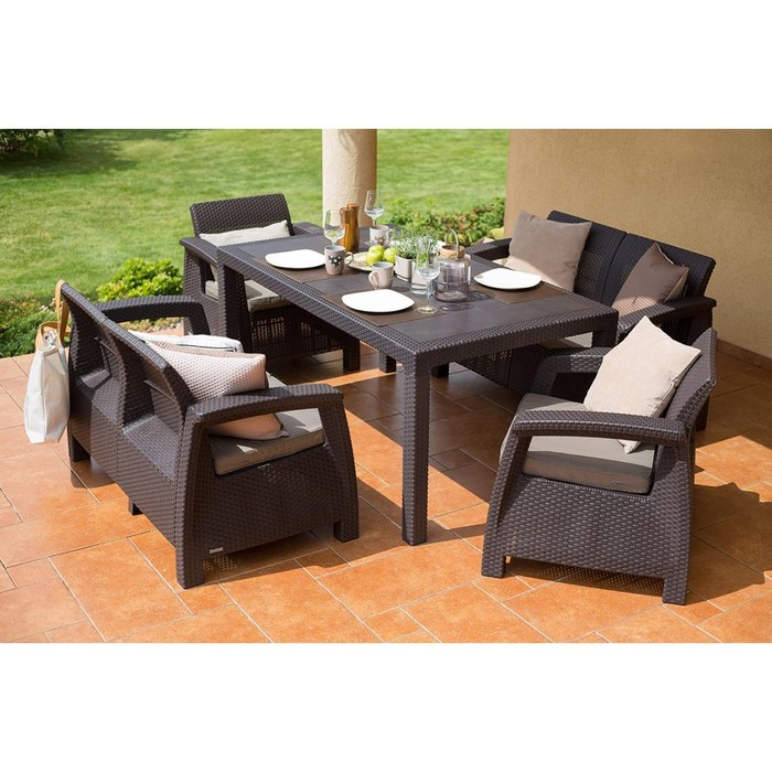 Набор мебели Corfu Fiesta, 5 предметов: стол, 2 дивана, 2 кресла, искусственный ротанг, коричневый