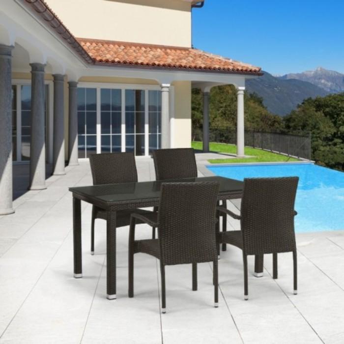 Комплект мебели из искусственного ротанга T256A/Y379A-W53 Brown (4+1)
