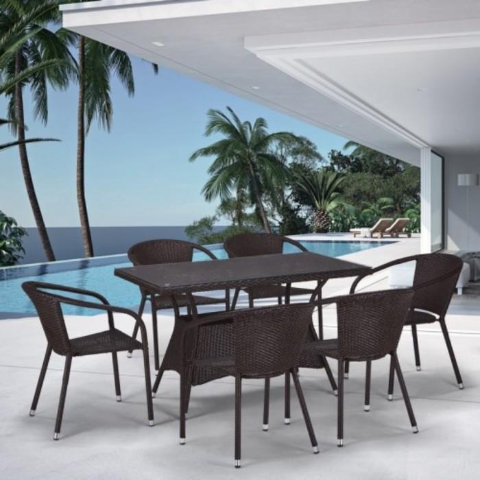 Комплект мебели из искусственного ротанга T198D/Y137C-W53 Brown (6+1)