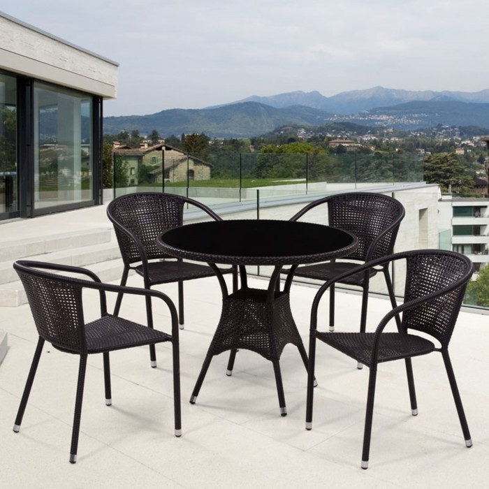 Комплект мебели из иск. ротанга T197ANS-W53/Y137B-W51 Brown (4+1)
