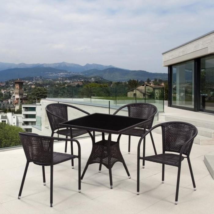 Комплект мебели из иск. ротанга T197BNS-W53/Y137B-W51 Brown (4+1)