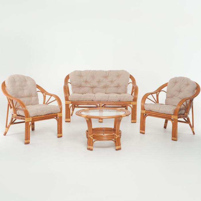 Набор мебели: диван, два кресла, стол, с подушкой, цвет коньячный, 01/90 AR