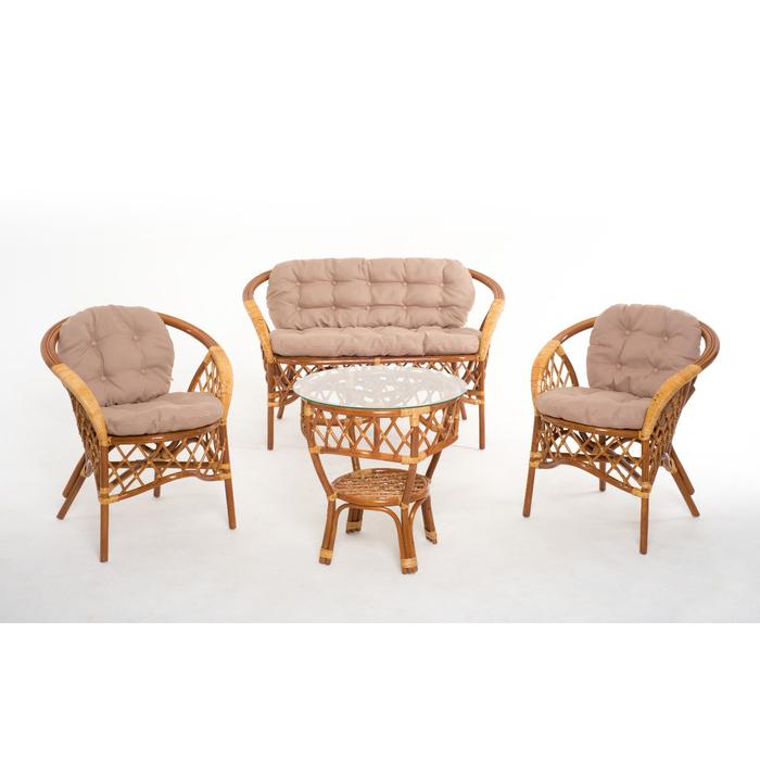 Набор мебели, 4 предмета: диван, два кресла, стол, с подушкой, натуральный ротанг, цвет коньячный, 01/92