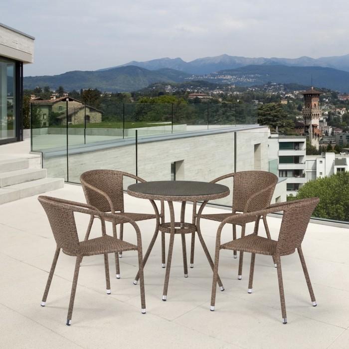 Комплект мебели из искусственного ротанга T282ANT/Y137C-W56 Light Brown (4+1)