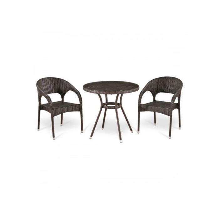 Комплект мебели из искусственного ротанга T283ANT-W51/Y90C-W51 Brown (2+1)