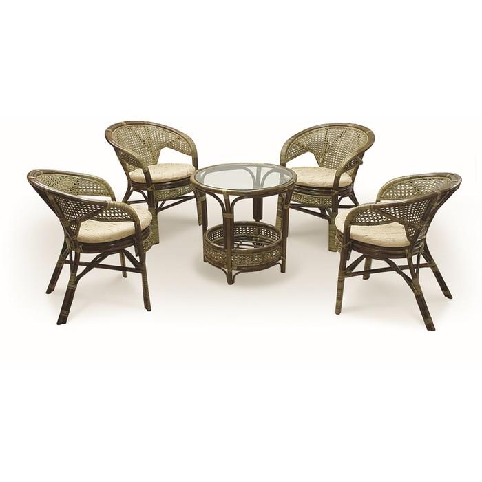 Набор мебели, 5 предметов: 4 кресла, стол, с подушкой, натуральный ротанг, цвет тёмно-коньячный, 02/15