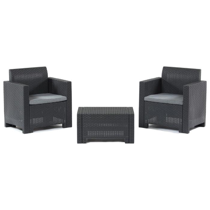 Комплект садовой мебели стол+2 кресла (ротанг) SET NEBRASKA TERRACE, цвет венге