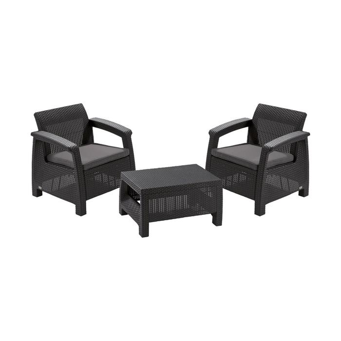 Набор мебели Corfu weekend, 3 предмета: стол, два кресла, цвет графит