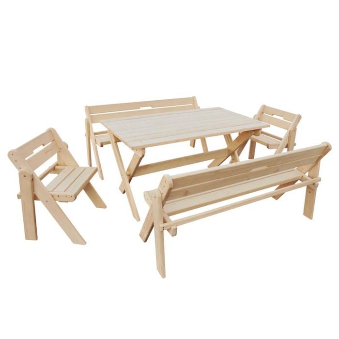 Набор мебели, 5 предметов: 2 скамейки, 2 стула, стол - 1.5 м, дерево