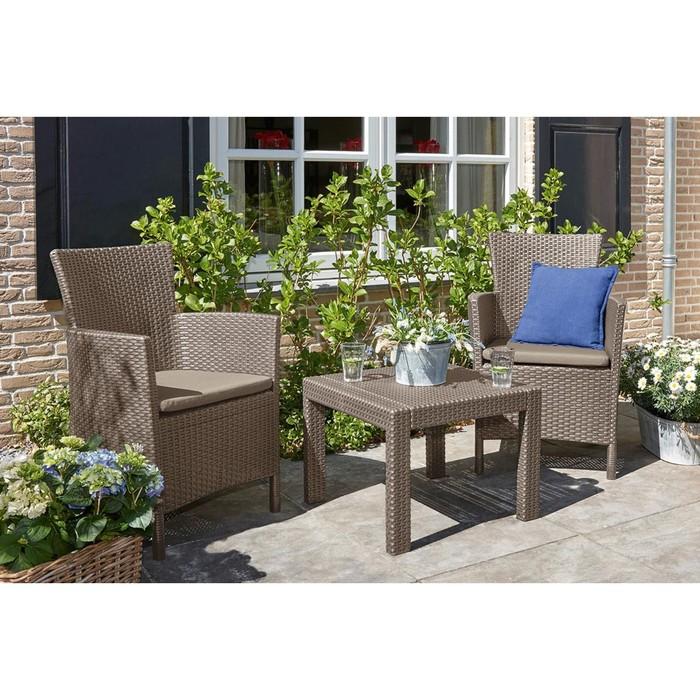 Набор мебели Rosario balcony set, 3 предмета: стол, 2 кресла, искусственный ротанг, цвет капучино