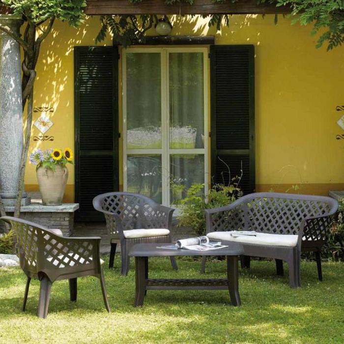 Набор мебели VERАNDА, 4 предмета: диван, 2 кресла, столик, с подушками, пластик