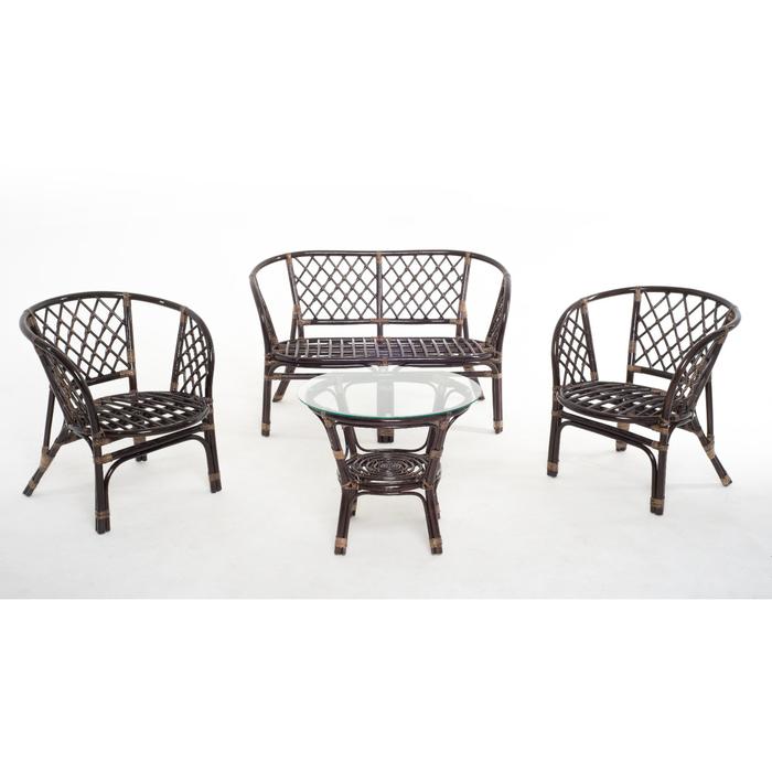 Набор мебели, 4 предмета: диван, два кресла, стол, с подушкой, натуральный ротанг, цвет тёмно-коньячный, 01/16