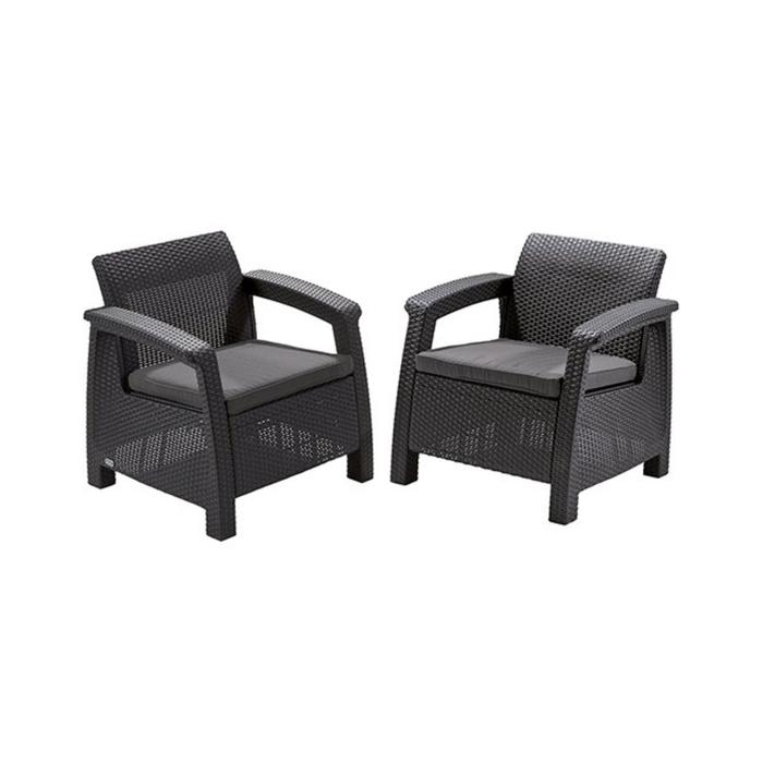 Набор мебели Corfu Duo Set, 2 предмета: 2 кресла, искусственный ротанг, цвет графит