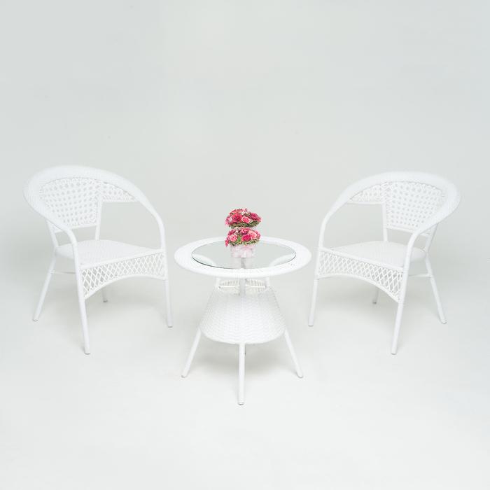 Набор мебели WHITE, 3 предмета: стол, 2 кресла, искусственный ротанг, белый, GG-04-07-04