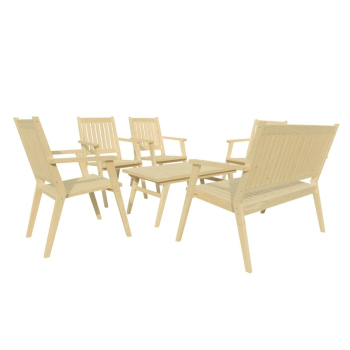 Набор мебели, 6 предметов: стол, 4 стула, скамейка, дерево