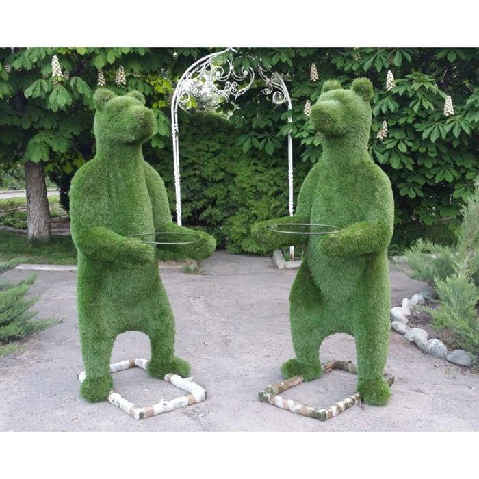 """Топиар фигура """"Медведь на задних лапах с кашпо"""""""