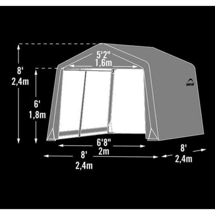 Быстровозводимый Сарай Shelterlogic, 2.4 × 2.4 × 2.4 м, скатная крыша, в коробке