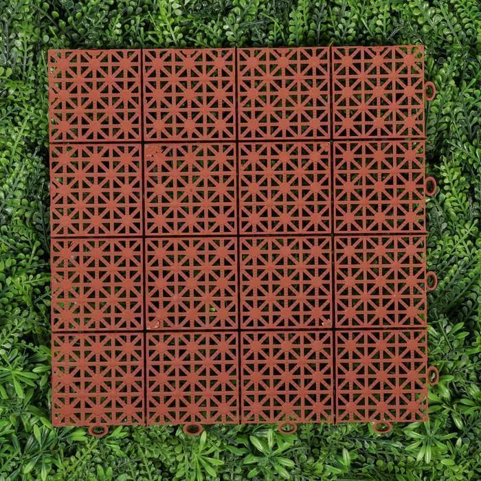 Модульное покрытие, 30 × 30 см, пластик, набор 10 шт., терракотовый