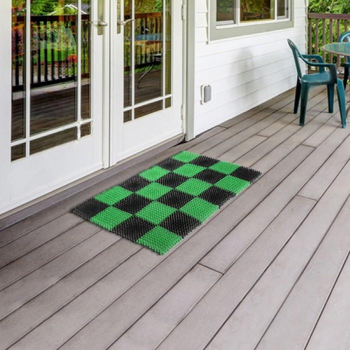 """Покрытие ковровое, щетинистое 81х54 см """"Травка"""", цвет черно-зеленый"""