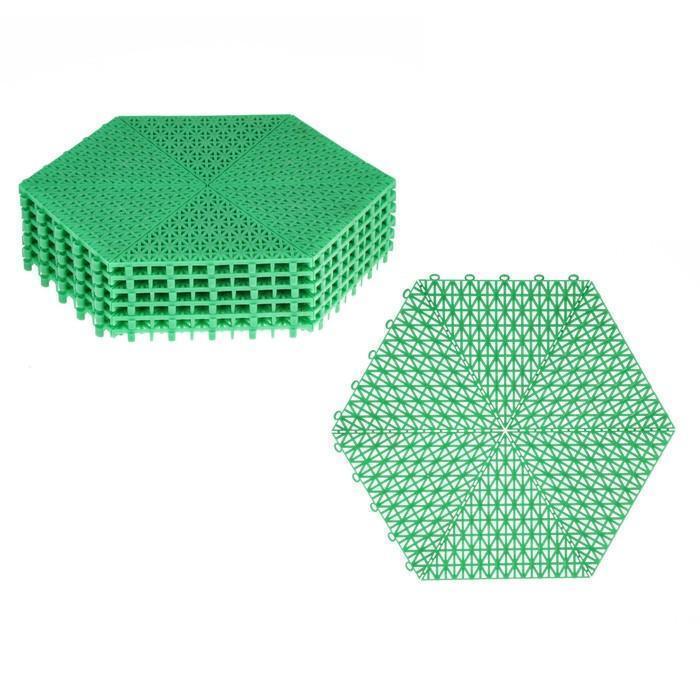Модульное покрытие, 41 × 37 × 1,5 см, шестигранник, пластик, набор 6 шт., зелёное
