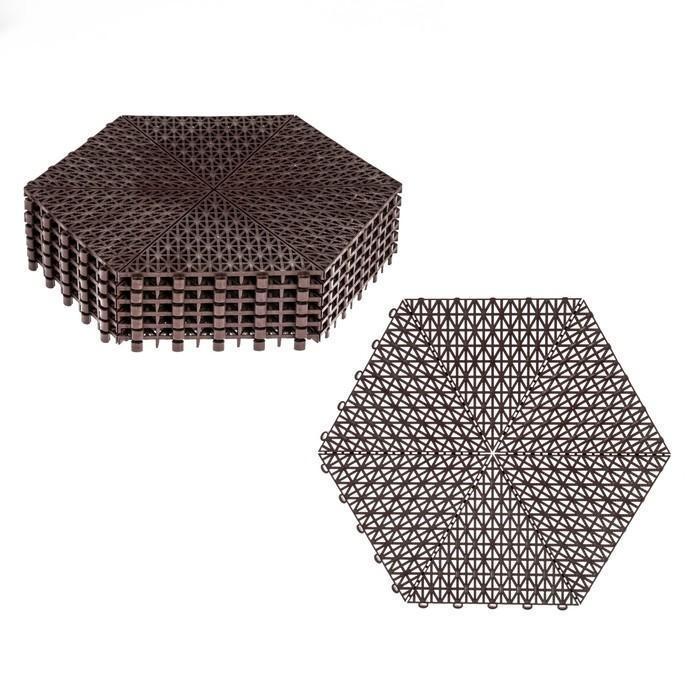 Модульное покрытие, 41 × 37 × 1,5 см, шестигранник, пластик, набор 6 шт., коричневое