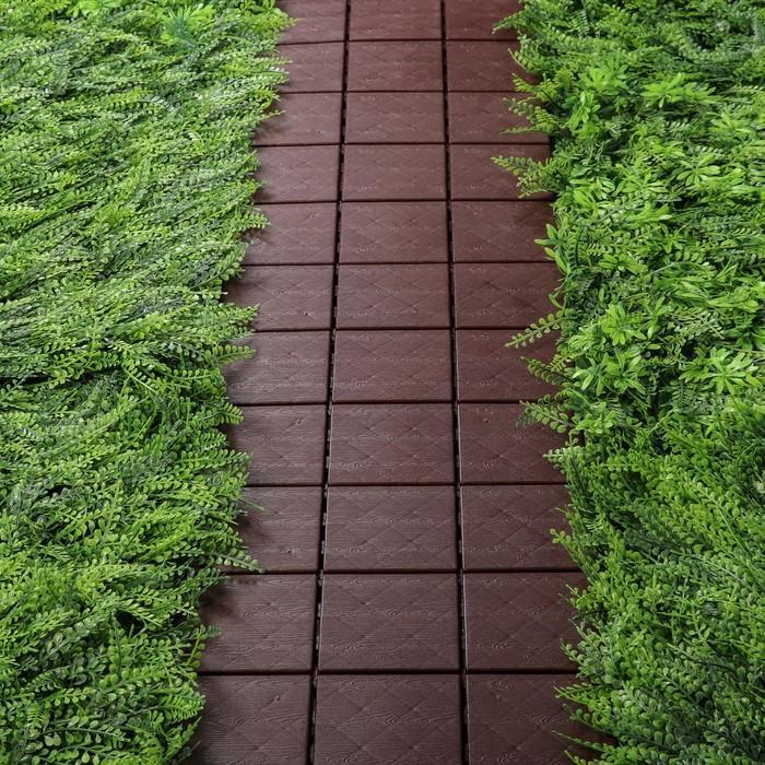Модульное покрытие, 30 × 30 см, пластик, набор 4 шт., шоколадная