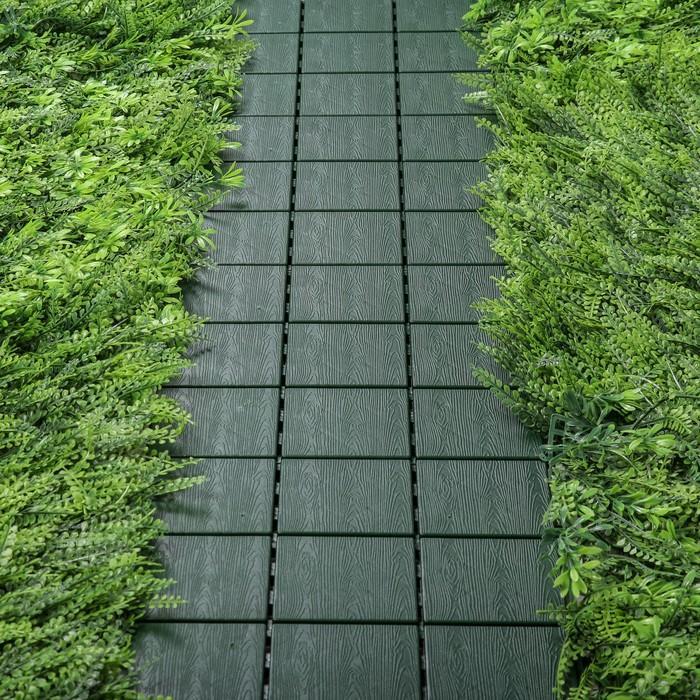 Модульное покрытие, 30 × 30 см, пластик, набор 4 шт., зелёная