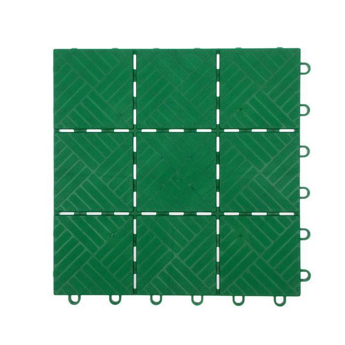 Модульное покрытие, 30 × 30 см, пластик, набор 11 шт., зелёная