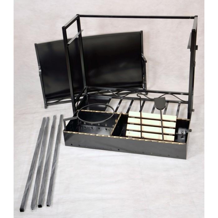 Мангал с крышей Хоттабыч 105 х 60 х 219 см, кочерга, совок, подставка под казан в Симферополе