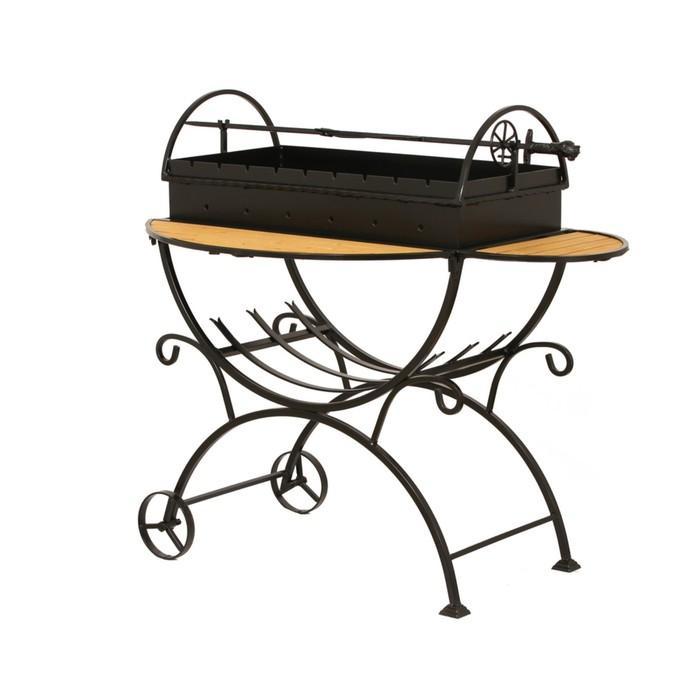 Мангал садовый на колёсах, с дровницей, сталь 2 мм в Симферополе
